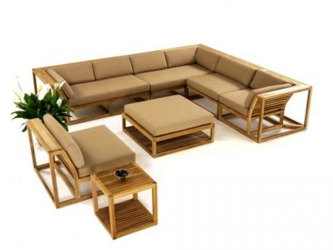 Maya 10pc Teak Wood Sectional Set